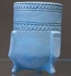 """Egyptian blue"" tripodic beaker synthetic calcium based pigment."