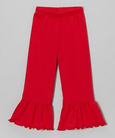 Take a look at this Red Ruffle Pants - Toddler & Girls by SILLY MILLY on #zulily today!
