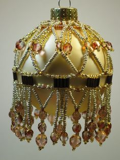 Beaded Ornament Cover by BeadingWolves on Etsy Beaded Christmas Ornaments, Ball Ornaments, Christmas Balls, Christmas Decorations, Christmas Ideas, Bead Crafts, Diy And Crafts, Beaded Ornament Covers, Beading Projects