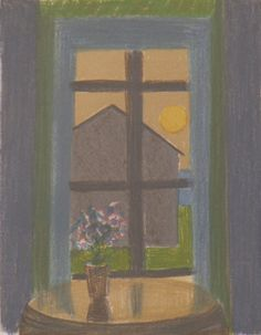Veikko Vionoja Kuutamo III 1981 49x35cm grafiikka Through The Window, Open Window, Finland, Ramen, Still Life, Windows, Illustrations, Doors, Artists