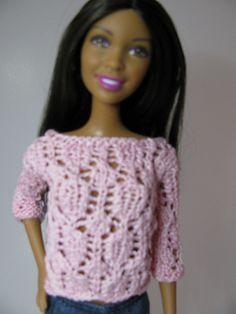Ravelry: Barbie Lace Top pattern by Jean Coniber Barbie Knitting Patterns, Barbie Clothes Patterns, Doll Patterns, Knit Patterns, Clothing Patterns, Doll Clothes, Barbie Top, Barbie Dolls, Knitted Dolls