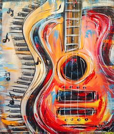 *Hand painted* music painting, guitar painting, guitar art, funky painted f Guitar Painting, Music Painting, Guitar Art, Painting & Drawing, Painting Wallpaper, Oeuvre D'art, Painting Inspiration, Art Drawings, Abstract Art