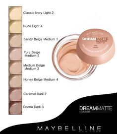 Maybelline Dream Matte Mousse Foundation Color Swatches