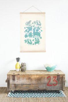 Turquoise Ombré Otomi Canvas