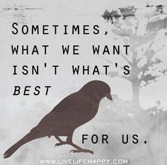 Sometimes, what we want isn't what's best for us.