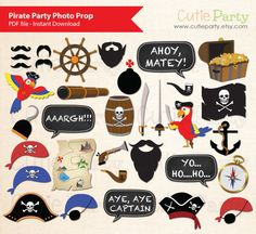 Pirate Party Photo Booth Prop Children Pirate Photo von Cutieparty