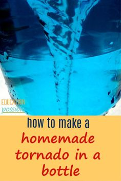 As part of your severe weather lessons, learn how to make a tornado in a bottle. It's a great hands-on project for middle school geography lesson plans. Includes helpful step-by-step instructions. Middle School Science Projects, Middle School Geography, Elementary Science Experiments, Science Fair Projects, School Projects, Elementary Education, Stem Projects, Early Education, Science Lesson Plans