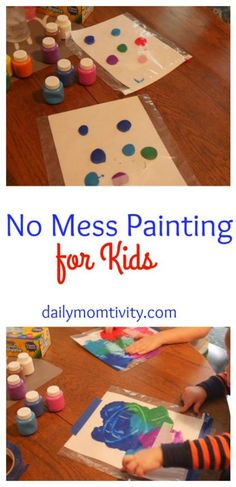 no mess painting for kids and toddler activities Toddler Play, Toddler Learning, Toddler Crafts, Crafts For Kids, Easy Crafts, Crafts Toddlers, Crafts For 3 Year Olds, Toddler Stuff, Fun Activities For Kids