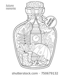 Coloring Book For Adults A Glass Vessel With Autumn Memories Of Dreams About Trip
