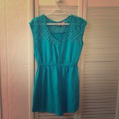Turquoise laced dress/coverup. Lightweight lace dress/ coverup. Perfect for the beach! love on a hanger Dresses Midi