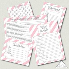 Pink and Silver Glitter Baby Shower Games by SOSPrintables on Etsy