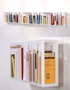 Clean, minimalist, modern.Without the books, it could be a wall sculpture - from TO BE SHELVED