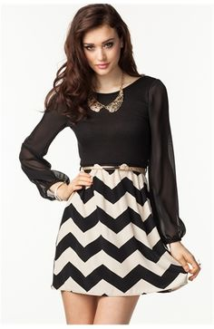 Sheer Sleeve Zig Zag Flare Dress yes!!! at Agaci (: