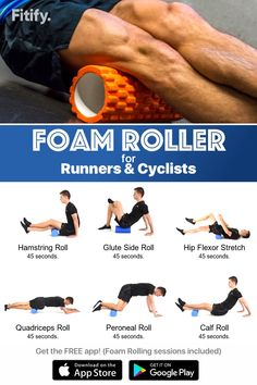 Foam Rolling – Lower body Routine Try this foam Rolling session to massage and release your muscles. Great cool-down after running, cycling, or leg workout. Get Fitify App to get over 70 foam roller exercises (and many more) for free. Fitness Motivation, Fitness Workouts, Foam Roller For Runners, Sport Fitness, Health Fitness, Foam Roller Exercises, Hip Stretching Exercises, It Band Stretches, Roller Workout