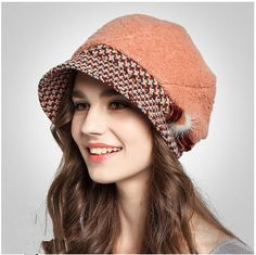 Fashion bow bucket hat for women warm wool hats winter wear