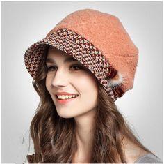 Fashion bow bucket hat for women warm wool hats winter wear