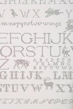 Anthropologie Needlework Alphabet Wallpaper, Back & White w/Letters & Animals #AbigailEdwards