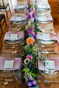 teal and lavender wedding table decor