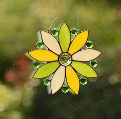 Tiffany Fensterbild Blume mit Gesicht Glasbild Sonnenfänger Glas Kunst Deko