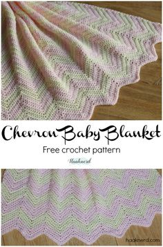 Chevron Baby Blanket. Free step-by-step crochet pattern with photo tutorial. via @haaknerd