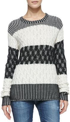 bela.nyc Callie Mixed-Pattern Striped Sweater #black #white #sweater #pattern #stripes #fashion