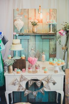 Vintage dresser & an old door created a perfect backdrop to my dessert table.