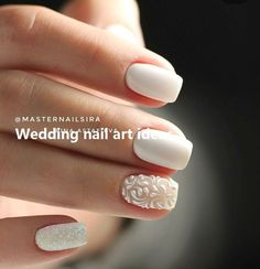 35 Simple Ideas for Wedding Nails Design - Diy Wedding Nails - Nageldesign Simple Wedding Nails, Wedding Nails For Bride, Wedding Nails Design, Wedding Nails Art, Wedding Makeup, Bridal Nails Designs, Bridal Nail Art, Wedding Manicure, Diva Nails