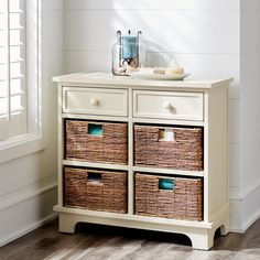 Holtom Antique White Drawer & Basket Storage | Pier 1 Imports