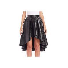 ABS Metallic Hi-Lo Skirt ($99) ❤ liked on Polyvore featuring skirts, black, metallic skater skirt, circle skirts, hi lo skirt, hi low skirt and long metallic skirt
