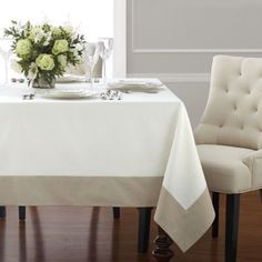 Wamsutta Mills Bordered Linen 90-Inch x 70-Inch Oblong Tablecloth in Natural