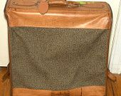 Hartmann Vintage Time Traveler Brown Tweed & Tan Belting Leather Garment Bag  Luggage