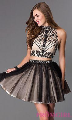 Short Mock Two Piece High Neck Dress by Dave and Johnny at PromGirl.com
