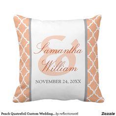 Peach Quatrefoil Custom Wedding Pillow