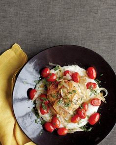 Chicken with Parmesan Grits and Tomatoes Recipe