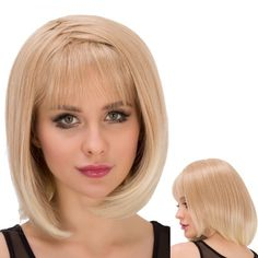 Straight Short Asymmetry Full Bang Mixed Color Outstanding Synthetic Wig For Women #>=#>=#>=#>=#> Click on the pin to check out discount price, color, size, shipping, etc. Save and like it!