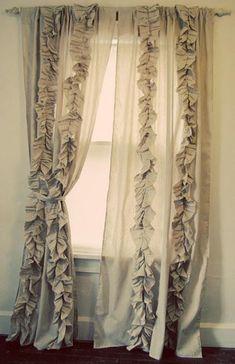 Cortinas para sala o comedor DIY Ruffled Pleated Curtains Anthropologie Curtains, Ruffle Curtains, Bedroom Curtains, Burlap Curtains, Curtains Living, Kitchen Curtains, Vintage Curtains, Ikea Curtains, Boho Curtains