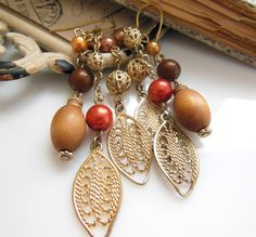 Retro Long Brown Wood Pink Bead Gold Filigree Tassel Dangle Pierced Earrings L43