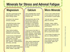 """Minerals for """"Stress and Adrenal Fatigue. Here's a simple chart outlining minerals, calcium and magnesium as well as several micro minerals to help support the adrenal glands. Adrenal Fatigue Symptoms, Fatigue Causes, Adrenal Glands, Chronic Fatigue Syndrome, Adrenal Burnout, Thyroid Symptoms, Pineal Gland, Chakras, Adrenal Health"""