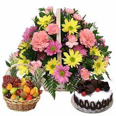 Flowers With Fruit Basket Buyflowersonline Buy Cake Online Send Cakes