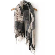 Black Beige Plaid Tassel Scarves