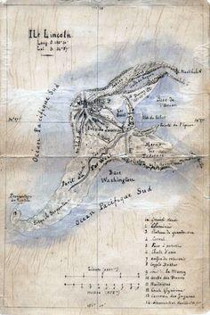 Jules Verne's Original Sketch Map of Lincoln Island for L'Île mystérieuse1874