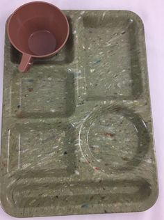 Texas Ware Green Confetti Meal Compartment Tray w Brown Cup  Melamine VTG