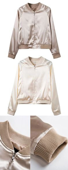 Buy Fall Khaki Zip Up Satin Bomber Jacket in Stayingsummer!
