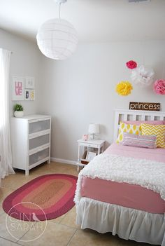 "nice girls room. airy, bright, not ""too girly"". grey walls. easy to change out the colors."