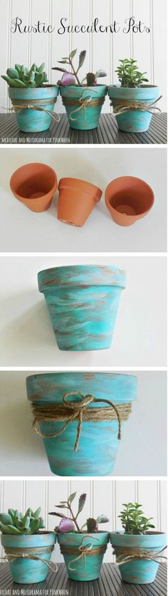 Rustic Succulent Pots Get ready for Spring with these easy DIY Rustic Succulent Pots.Get ready for Spring with these easy DIY Rustic Succulent Pots. Clay Pot Crafts, Diy And Crafts, Homemade Crafts, Decor Crafts, Home Decor, Farmhouse Style Decorating, Farmhouse Decor, Farmhouse Ideas, Farmhouse Garden