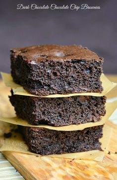 Rich, delicious dark chocolate brownies made with an addition of dark chocolate chips. These brownies are perfectly soft and moist.