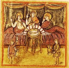 A very early medieval illustration of Aeneas at Dido's feast.