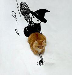 Mit nur ein paar Zeichenstrichen wird diese Katze lustig in Szene gesetzt