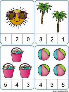 Summer Count and Clip Cards: numbers Kindergarten Math Worksheets, Preschool Learning Activities, Preschool Printables, Kindergarten Reading, Preschool Activities, Numbers Preschool, Math For Kids, Guided Reading, Reading Comprehension
