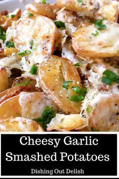 These cheesy garlic smashed potatoes make the perfect side dish to any meal. #potatorecipes #sidedishrecipes #yummyfood #delish #sidedishideas #potatoes #delishrecipes Garlic Smashed Potatoes, Cheesy Potatoes, Potato Dishes, Potato Recipes, Side Dishes Easy, Side Dish Recipes, Everyday Food, The Best, Easy Meals